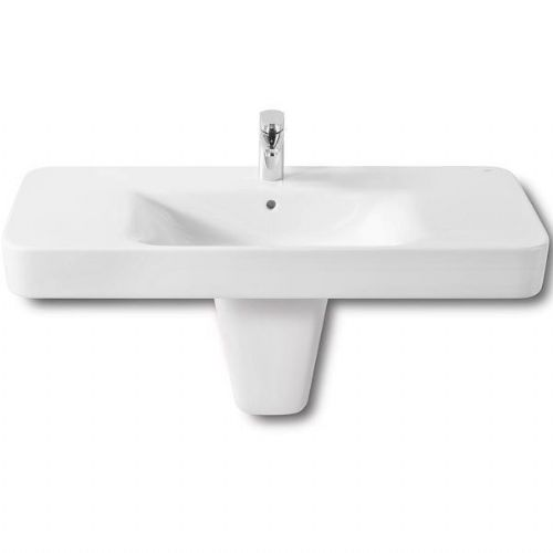 Roca Senso Square Basin With Semi Pedestal - 1000mm - 1 Tap Hole - White